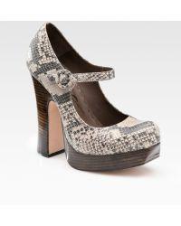 Alice + Olivia Reise Pythonprint Leather Mary Jane Pumps - Lyst