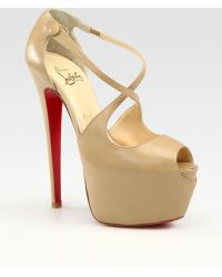 Christian Louboutin Exagona Leather Crisscross Platform Sandals - Lyst