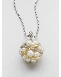 David Yurman - Diamond 18k Gold Accented 35mm7mm White Round Freshwater Pearl Bubble Pendant Necklace - Lyst