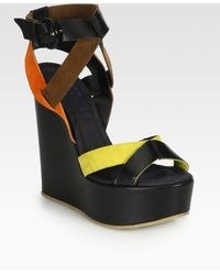 Pollini Leather Suede Wedge Sandals - Lyst