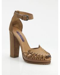 Ralph Lauren Collection Shelly Woven Front Platform Sandals - Lyst