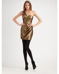 Robert Rodriguez Betty One Shoulder Dress gold - Lyst