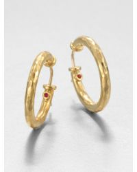 Roberto Coin 18k Yellow Gold Hammered Hoop Earrings1 - Lyst