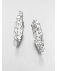 Roberto Coin Diamond & 18K White Gold Hoop Earrings/1.5 - Lyst
