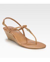 Tory Burch Emmy Leather Wedge Sandals - Lyst