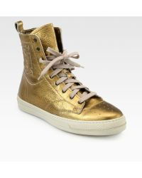 Burberry Northfield Metallic Leather Laceup Sneakers - Lyst