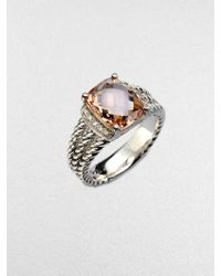 David Yurman - Diamond Accented Morganite Sterling Silver Ring - Lyst