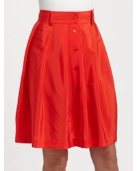 DKNY Stretch Silk Crepe De Chine Button Down Skirt - Lyst