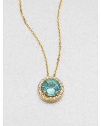 KALAN by Suzanne Kalan - Apatite, White Sapphire & 14k Yellow Gold Round Pendant Necklace - Lyst