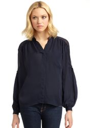 Madison Marcus - Sheer Panel Silk Blouse - Lyst