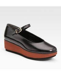 Robert Clergerie Leather Mary Jane Wedges - Lyst