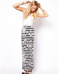 ASOS Collection Asos Maxi Skirt in Grunge Stripe black - Lyst