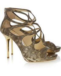 Jimmy Choo Latina Snakeprint Leather Sandals - Lyst