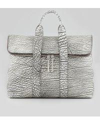 3.1 Phillip Lim Hour Foldover Grain Leather Tote Bag Blackwhite - Lyst