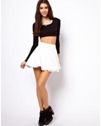 ASOS Collection Asos Skater Skirt in Rib white - Lyst
