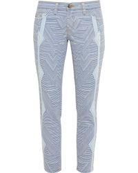 Current/Elliott The Stiletto Printed Low-Rise Skinny Jeans - Lyst