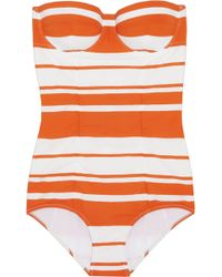 Dolce & Gabbana Striped Molded Swimsuit - Lyst