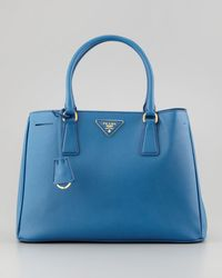 Prada Saffiano Lady Tote Bag Blue - Lyst