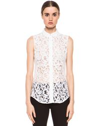 Victoria Beckham Denim 50s Boy Shirt in White Lace - Lyst