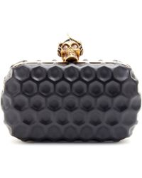 Alexander McQueen Skull Punk Leather Box Clutch - Lyst