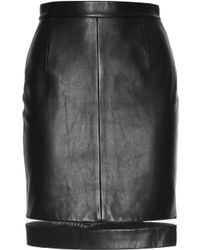 Alexander Wang Leather Skirt with Cut-Out Inserts - Lyst