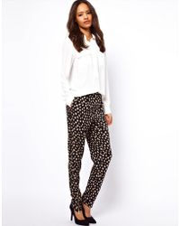 ASOS Collection Peg Trousers in Daisy with Zip Detail - Lyst