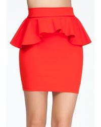 Bebe Knit Pencil Peplum Skirt - Lyst