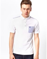 Fred Perry Polo with Contrast Seersucker Pocket - Lyst