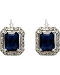 Carolee - Rectangular Button Crystal Clip Earrings - Lyst