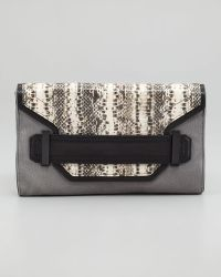 MILLY - Lilly Small Pythonprint Clutch Bag - Lyst