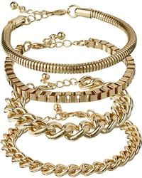 ASOS - Asos Pack Of Four Chain Bracelets - Lyst