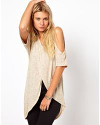 ASOS Collection Top in Linen with A Cross Over Cold Shoulder beige - Lyst