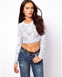 ASOS Collection | 90s Long Sleeve Crop with Sketchy Jungle Animal Print | Lyst