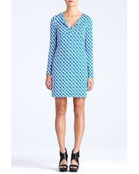 Diane von Furstenberg Reina Long Sleeve Silk Jersey Dress - Lyst