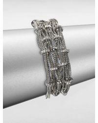 ABS By Allen Schwartz - Pave Rondelle Multi-row Chain Bracelet - Lyst