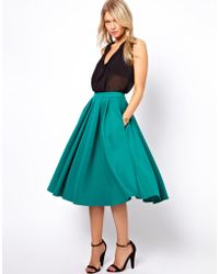ASOS Collection Full Midi Skirt with Box Pleats green - Lyst