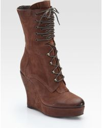 Boutique 9 - Bojana Leather Lace-up Wedge Boots - Lyst