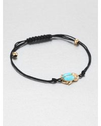 Diane Kordas Turquoise, Diamond & 18K Yellow Gold Beetle Cord Bracelet - Lyst