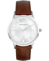 Emporio Armani Tan Leather Strap Watch Ar2463 brown - Lyst