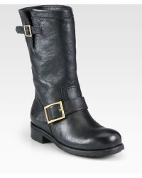 Jimmy Choo Leather Biker Boots - Lyst