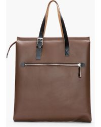 Marni - Large Dark Brown Black Leather Shopper Tote - Lyst