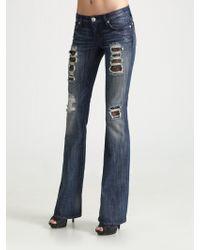 Rock & Republic   Lace Inset Flareleg Jeans   Lyst