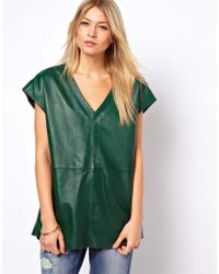 ASOS Collection | Leather Tunic with Plunge Neck | Lyst