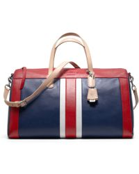 COACH - Legacy Weekend Beach Leather Stripe Boston Bag - Lyst