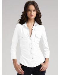 James Perse Jersey Button-Front Shirt - Lyst