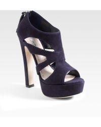 Miu Miu Suede Cutout Ankle Boots - Lyst