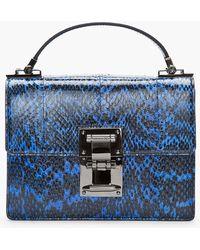 Mugler - Blue and Black Water Snake Leather Muglerette Bag - Lyst