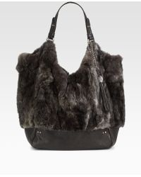 Olivia Harris | Zip Pocket Fur Tote | Lyst