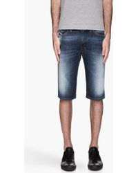 Diesel Bule Faded and Distressed Shishort Denim Shorts - Lyst