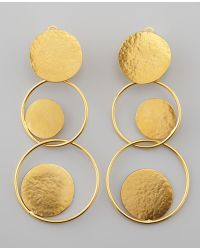 Herve Van Der Straeten Hammered Gold Circle Drop Earrings - Lyst